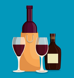 red wine bottles and cups vector image