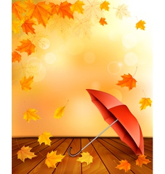 Retro autumn background with colorful leaves and vector image