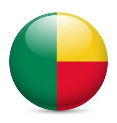 Round glossy icon of benin vector image