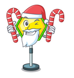 santa with candy traffic sign isolated on the vector image