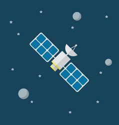 satellite icon in flat style vector image