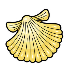 seashell yellow natural underwater icon vector image