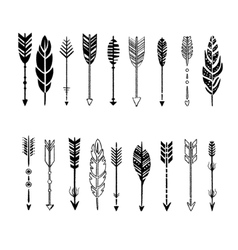 Set arrows black and white in hand-drawn vector