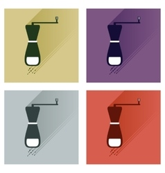 Set flat icons with long shadow salt mill vector