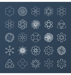 Set of White Outline Flowers vector