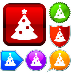 Set shiny icon series on buttons christmas tree vector