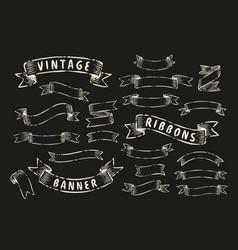 set vintage ribbon banners hand drawn design vector image