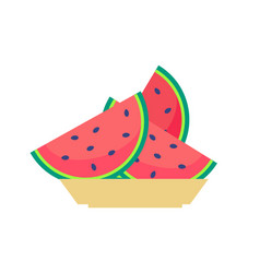 slices of watermelon on plate sweet organic fruit vector image