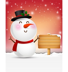 Snowman cartoon smile and blank wooden sign eps10 vector