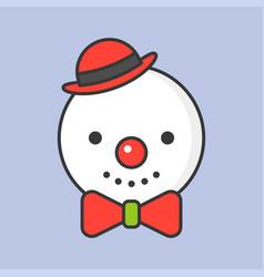 snowman editable outline icon winter christmas vector image