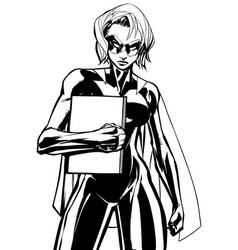 Superheroine holding book line art vector