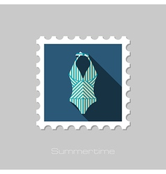 Swimsuit flat stamp Summer Vacation vector image