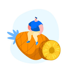 tiny male character sitting on huge pineapple vector image