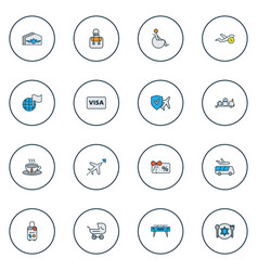 traveling icons colored line set with visa flight vector image