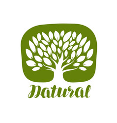 Tree with leaves label or logo natural organic vector