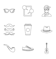 Trendy hipsters icons set outline style vector
