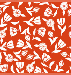 tulips pattern seamless ornament on red background vector image