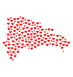 valentine mosaic map of dominican republic vector image