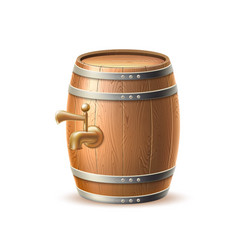 vecot realistic 3d wooden keg oak barrel brewery vector image