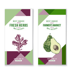 vertical banners - fresh herbs and farmers market vector image vector image