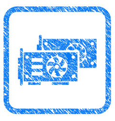 Video graphics gpu cards framed stamp vector