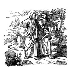Vintage drawing biblical story ruth and vector