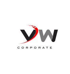 vw modern letter logo design with swoosh vector image