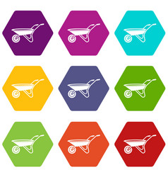 wheelbarrow icons set 9 vector image