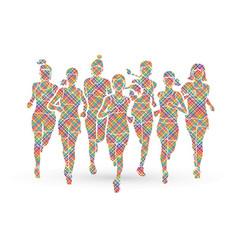 women running marathon runners vector image