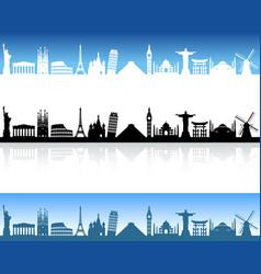 world monuments skyline vector image