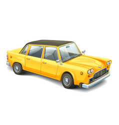 Yellow vintage car high detailed image of retro vector
