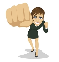 young angry business woman punching to front vector image