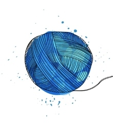 a ball of blue yarn for vector image