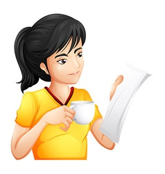 A girl reading while drinking vector image