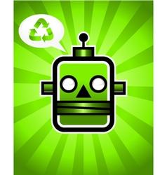 Green Recycling Retro Robot vector image