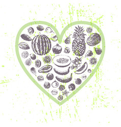 ink hand drawn fruits in heart shape vector image vector image