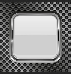 metal perforated background with white glass vector image vector image