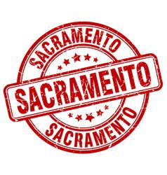 sacramento red grunge round vintage rubber stamp vector image vector image