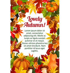 autumn leaf poster template with fall nature frame vector image vector image