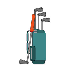 color image cartoon bag with golf clubs vector image vector image
