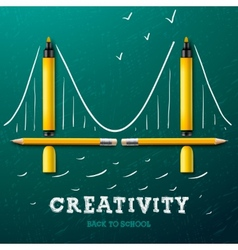 Creativity learning Bridge made with pencils and vector image vector image