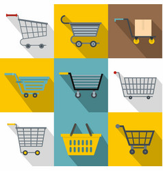 different cart icons set flat style vector image