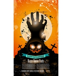 Halloween Party Flyer with creepy colorful vector image vector image