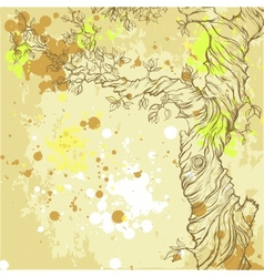 Summer or spring grunge background with tree vector image