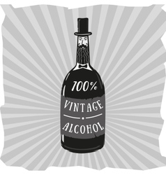 Vintage alcohol Bottle looks like an old vector image