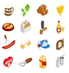Beer icons set isometric 3d style vector image