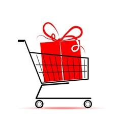 Gift box in shopping cart for your design vector image vector image
