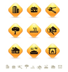 Real estate icons on yellow rhombic buttons vector image vector image