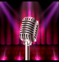 the musical show microphone on the red scene vector image vector image
