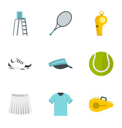 court tennis icons set flat style vector image